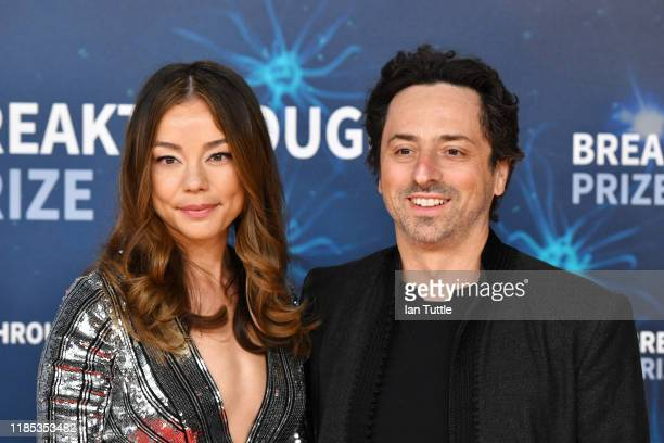 Nicole Shanahan and Sergey Brin attend the 2020 Breakthrough Prize Red Carpet at NASA Ames Research Center on November 03, 2019 in Mountain View,...