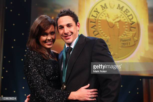 Nicole Slater and Billy Slater pose fo r photos after Billy won the Dally M Medal during the 2011 Dally M Awards at the Royal Hall of Industries...