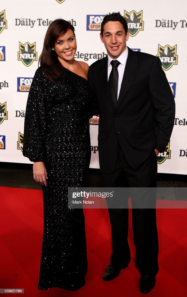 Nicole Slater and Billy Slater pose on the red carpet before the 2011 Dally M Awards at the Royal Hall of Industries, Moore Park on September 6, 2011 in Sydney, Australia.