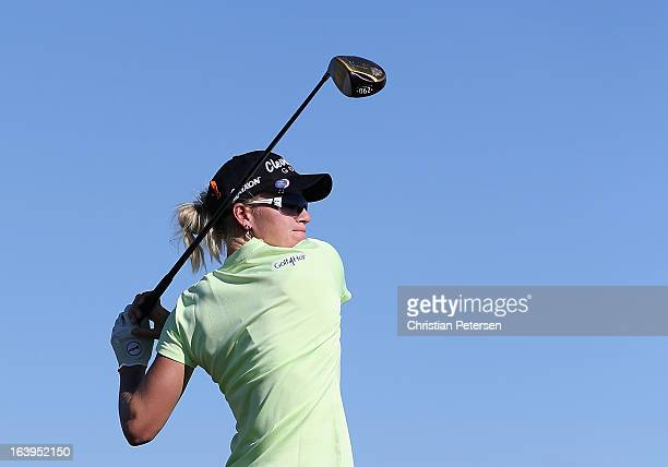 Nicole Smith hits a tee shot during the first round of the RR Donnelley LPGA Founders Cup at Wildfire Golf Club on March 14 2013 in Phoenix Arizona