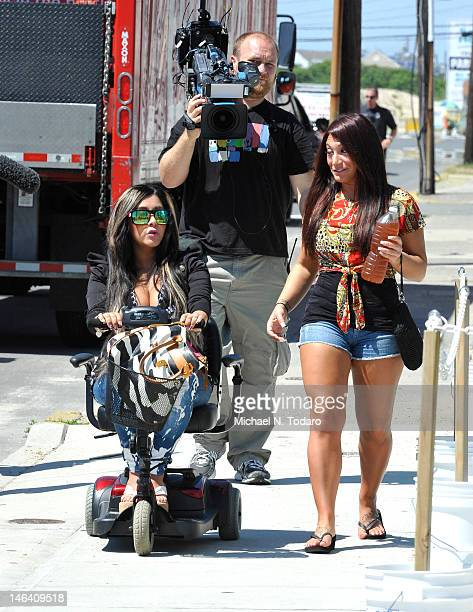 Nicole 'Snooki' Polizzi and Deena Cortese seen on location for 'Jersey Shore' on June 15 2012 in Seaside Heights New Jersey