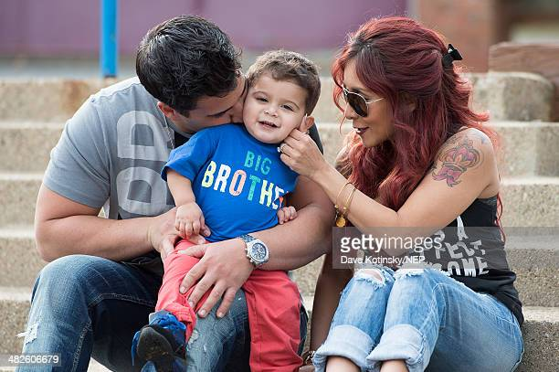 Nicole Snooki Polizzi and her fiance Jionni LaValle pictured with their son Lorenzo LaValle on April 3 2014 in New Jersey are expecting their second...