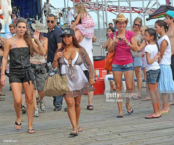 """Nicole """"Snooki"""" Polizzi and her friend Ryder filming on location for """"Jersey Shore"""" at Seaside Heights on August 8, 2010 in Seaside Heights, New..."""
