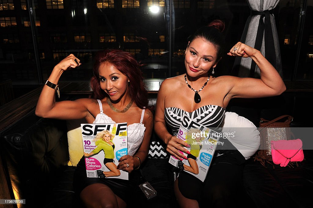 Nicole 'Snooki' Polizzi and Jenni 'JWOWW' Farley attend Self Rocks the Summer Event on July 16, 2013 in New York City.