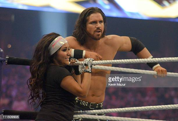 Nicole Snooki Polizzi and John Morrison during WrestleMania XXVII at Georgia Dome on April 3 2011 in Atlanta Georgia