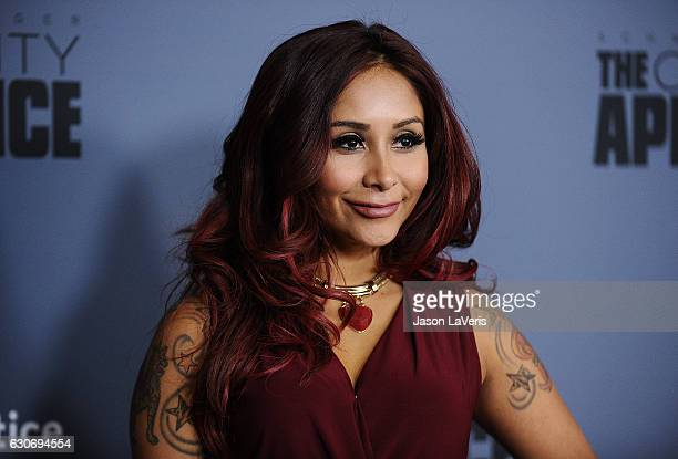 Nicole Snooki Polizzi attends the press junket For NBC's Celebrity Apprentice at The Fairmont Miramar Hotel Bungalows on January 28 2016 in Santa...