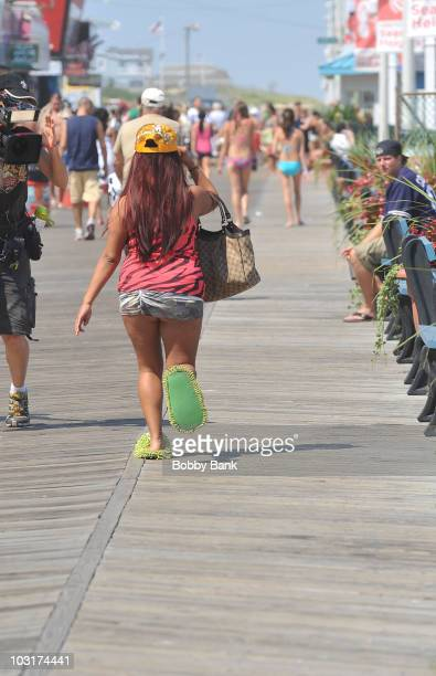 Nicole 'Snooki' Polizzi filming on location for 'Jersey Shore' on July 30 2010 in Seaside Heights New Jersey