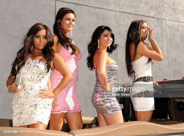 Nicole 'Snooki' Polizzi Jenni 'JWOWW' Farley Angelina 'Jolie' Pivarnick and Sammi Giancola arrive at the 2010 MTV Movie Awards held at the Gibson...