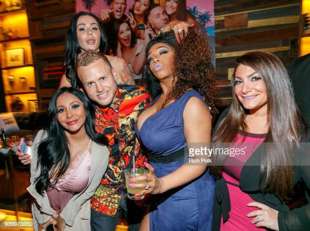 Nicole 'Snooki' Polizzi Jenni 'JWoww' Farley Spencer Pratt Tiffany Pollard and Deena Cortese attend the 'Jersey Shore Family Vacation' Premiere Party...