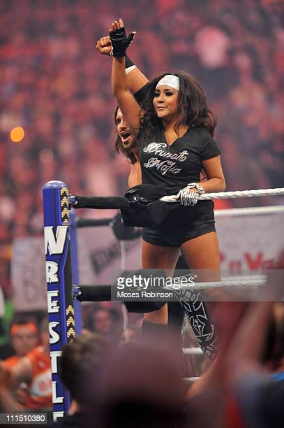 Nicole Snooki Polizzi makes his way to the ring at 'WrestleMania 27' at the Georgia World Congress Center on April 3 2011 in Atlanta Georgia