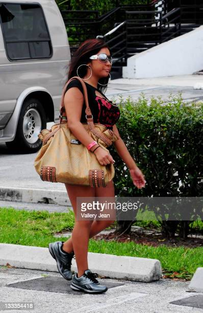Nicole 'Snooki' Polizzi of the Jersey Shore is sighted leaving the Xtreme Indoor Karting on May 1 2010 in Fort Lauderdale Florida
