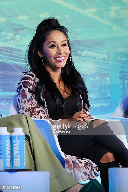 Nicole 'Snooki' Polizzi speaks onstage during the Under the Influence panel at Liberty Theater during 2016 Advertising Week New York on September 28...