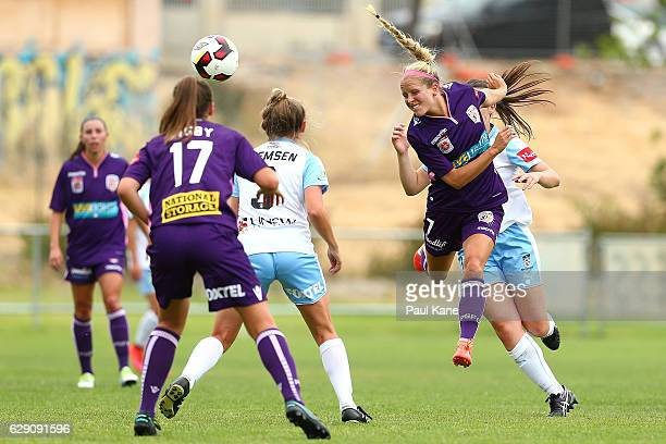 Nicole Stanton of the Glory heads the ball during the round six WLeague match between the Perth Glory and Sydney FC at Dorrien Gardens on December 11...
