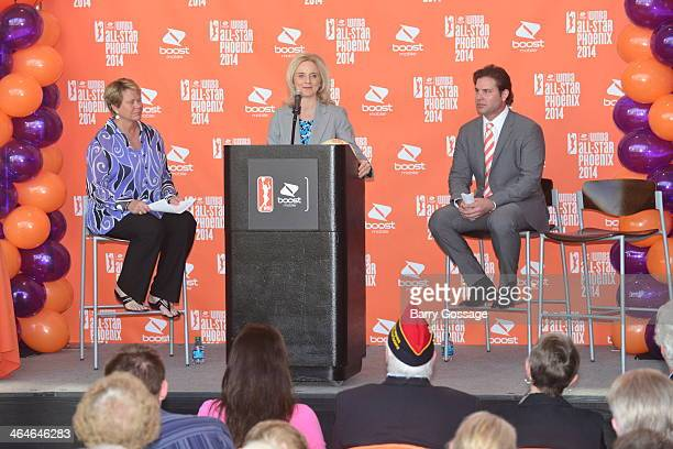Nicole Stanton The First Lady of Phoenix addresses the media during the announcement of the Boost Mobile WNBA All Star 2014 Game at the US Airway...