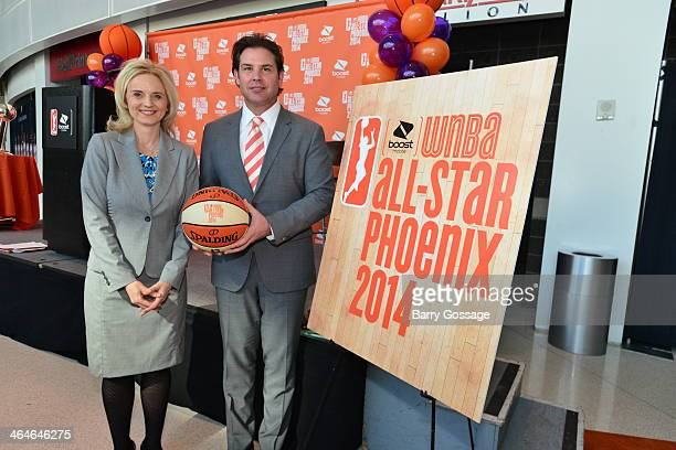 Nicole Stanton The First Lady of Phoenix and Jason Rowley President of the Phoenix Mercury pose for a photo during the announcement of the Boost...