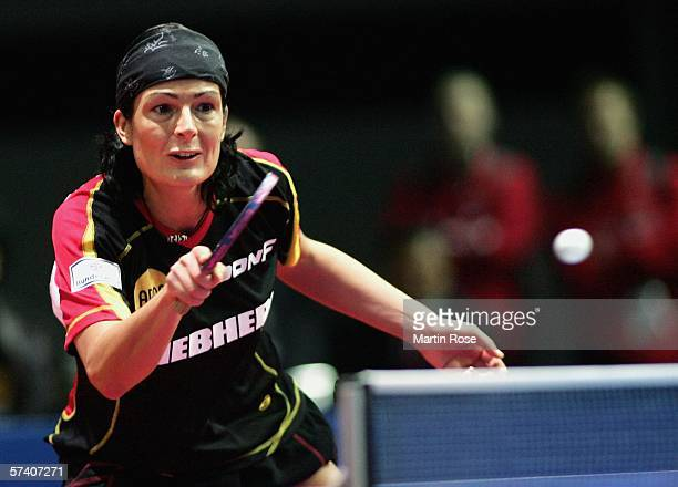 Nicole Struse of Germany in action against Jiao Li of Netherlands during the first day of the Liebherr World Team Table Tennis Championships at the...