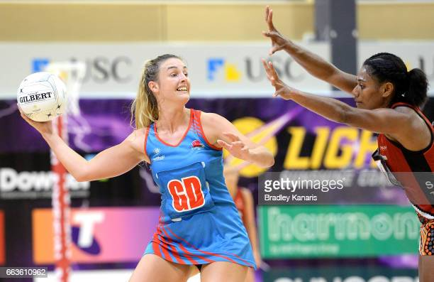 Nicole Styles of the Waratahs looks to pass during the round seven Australian Netball League match between the Storm and the Waratahs at University...