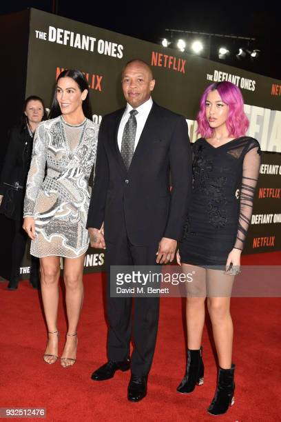 Nicole Threatt Dr Dre and Truly Young attend a special screening of The Defiant Ones at the Ritzy Picturehouse Brixton on March 15 2018 in London...