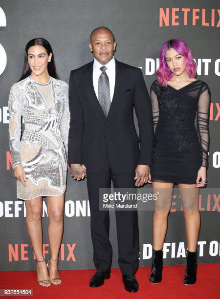 Nicole Threatt Dr Dre and Truly Young attend 'The Defiant Ones' special screening on March 15 2018 in London United Kingdom