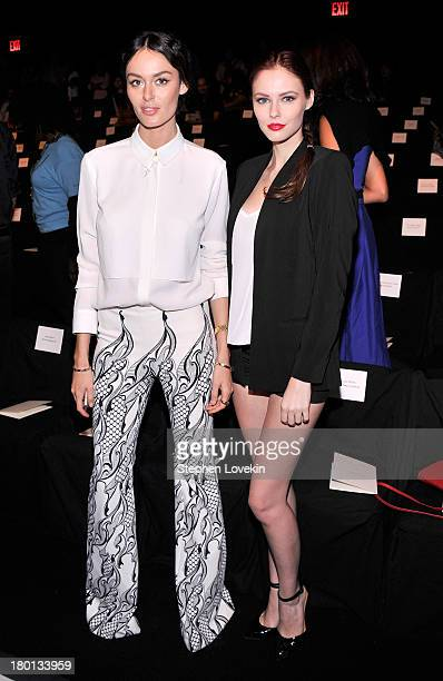 Nicole Trunfio and Alyssa Campanella attend the Carolina Herrera fashion show during MercedesBenz Fashion Week Spring 2014 at The Theatre at Lincoln...