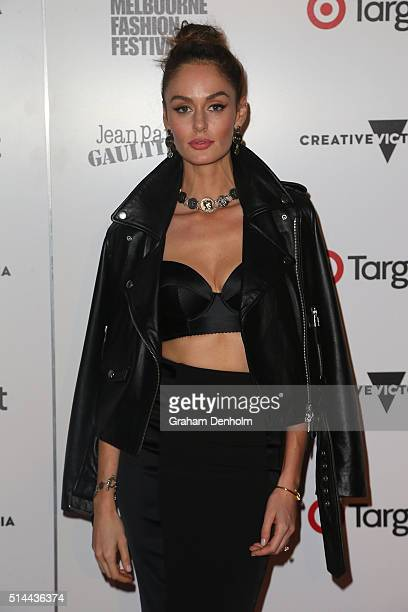Nicole Trunfio arrives ahead of the Jean Paul Gaultier x Target Launch during Melbourne Fashion Festival on March 9 2016 in Melbourne Australia