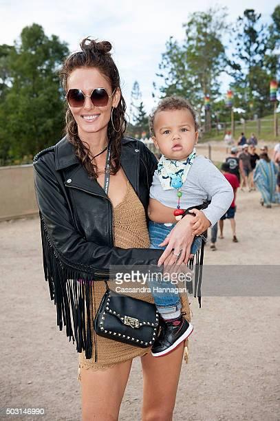 Nicole Trunfio arrives at Falls Festival ahead of fiance Gary Clarke Junior's performance on January 2 2016 in Byron Bay Australia
