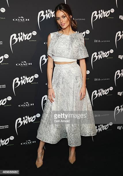 Nicole Trunfio arrives at the Buro 24/7 Australia launch at the Sydney Opera House on April 14 2015 in Sydney Australia