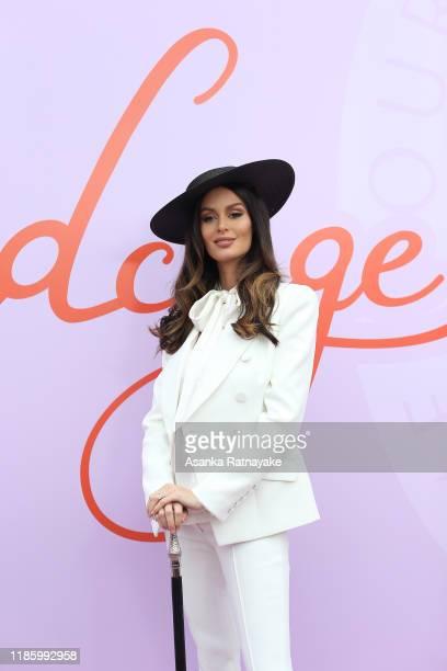 Nicole Trunfio attends Oaks Day at Flemington Racecourse on November 07, 2019 in Melbourne, Australia.