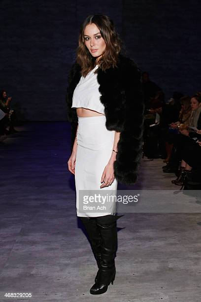 Nicole Trunfio attends the Mathieu Mirano fashion show during MercedesBenz Fashion Week Fall 2014 at The Pavilion at Lincoln Center on February 10...