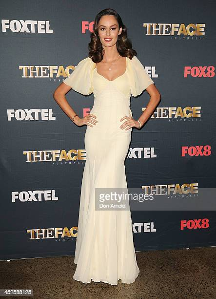 Nicole Trunfio poses during a photo call for Australian TV show 'The Face of Australia' at Carriage Works on November 30 2013 in Sydney Australia