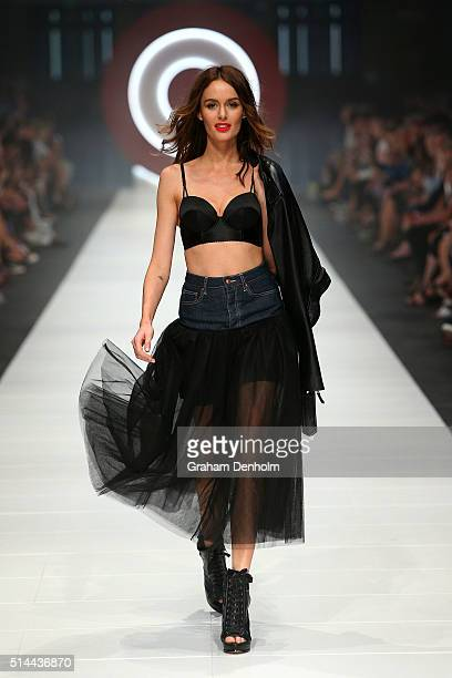 Nicole Trunfio showcases designs by Jean Paul Gaultier x Target during Melbourne Fashion Festival on March 9 2016 in Melbourne Australia