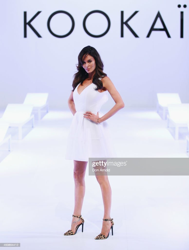 Nicole Trunfio showcases designs on the catwalk at Kookai Fashion Show SS14/15 at Carriageworks on August 20, 2014 in Sydney, Australia.