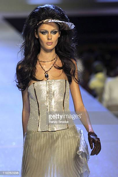 Nicole Trunfio wearing Baby Phat Spring 2006 during Olympus Fashion Week Spring 2006 Baby Phat Runway at Radio City Music Hall in New York City New...