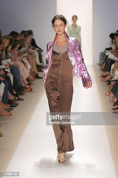 Nicole Trunfio wearing Tuleh Spring 2005 during Olympus Fashion Week Spring 2005 Tuleh Runway at Plaza Tent Bryant Park in New York City New York...
