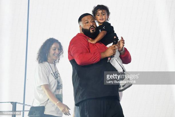 Nicole Tuck and Asahd Tuck Khaled join DJ Khaled as he opens for Beyonce and JayZ On the Run II Tour New Jersey at MetLife Stadium on August 2 2018...