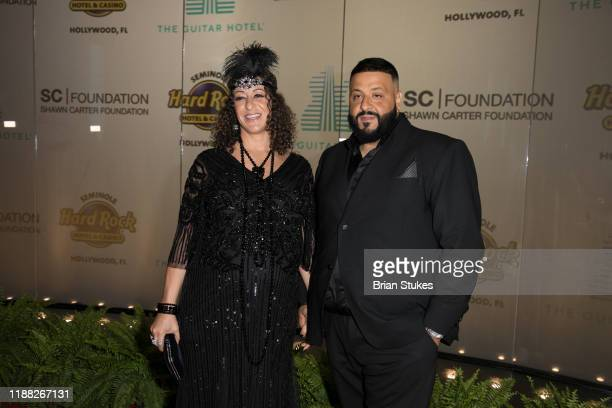 Nicole Tuck and DJ Khaled attend Shawn Carter Foundation Gala at Seminole Hard Rock Hotel And Casino on November 16 2019 in Hollywood Florida
