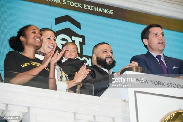 Nicole Tuck Asahd Khaled DJ Khaled and New York Stock Exchange President Thomas Farley visit the New York Stock Exchange opening bell to promote the...