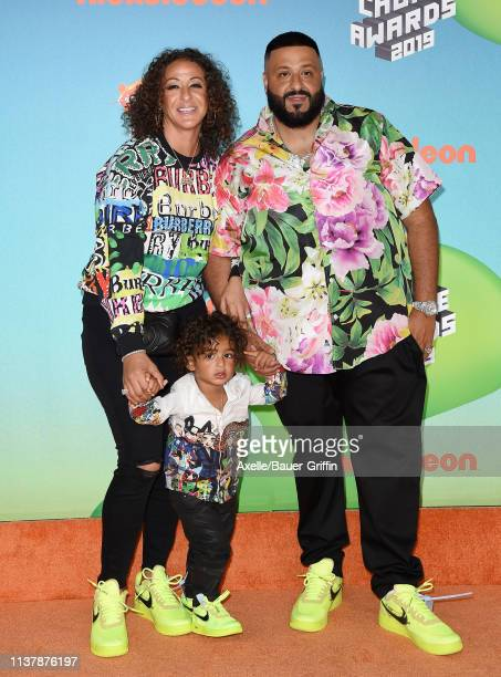 Nicole Tuck Asahd Tuck Khaled and DJ Khaled attend Nickelodeon's 2019 Kids' Choice Awards at Galen Center on March 23 2019 in Los Angeles California