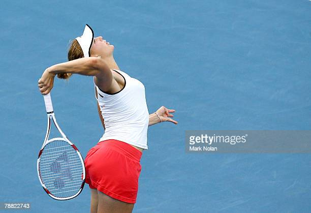 Nicole Vadisova of the Czech Republic serves during her match against Daniela Hantuchova of Slovakia during day three of the Medibank International...