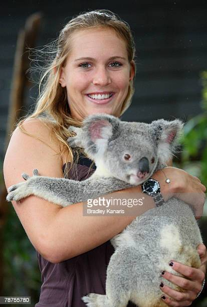 Nicole Vaidisova of the Czech Republic poses with a Koala at Dreamworld as she takes a break from the Womens Hardcourts which are being held at the...