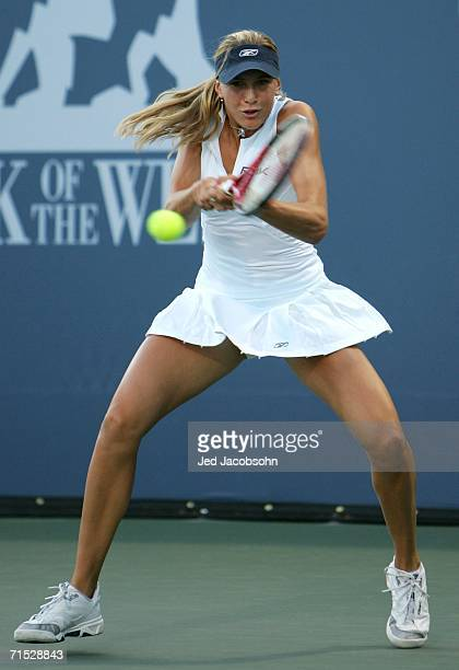 Nicole Vaidisova of the Czech Republic returns a shot against Sybille Bammer of Austria during the Bank of the West Classic tennis tournament at...