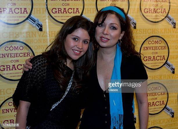 Nicole Vale and Arleth Pacheco pose for a photo at the red carpet of the theater play Como Envejecer con Gracia at Teatro San Rafael on July 19 2010...