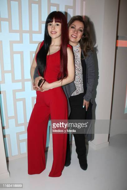 Nicole Vale and Arlette Pacheco poses for photos during a mass for the first day of filming of the soap opera 'Vencer al silencio' on July 31 2019 in...