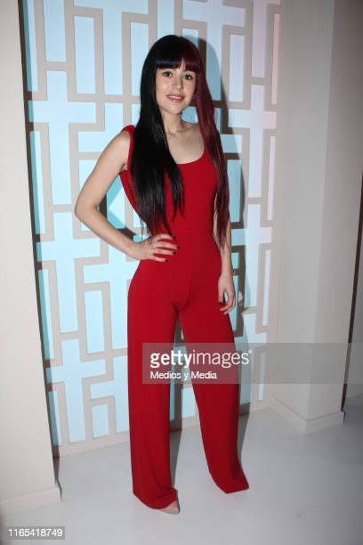 Nicole Vale poses for photos during a mass for the first day of filming of the soap opera 'Vencer al silencio' on July 31 2019 in Mexico City Mexico