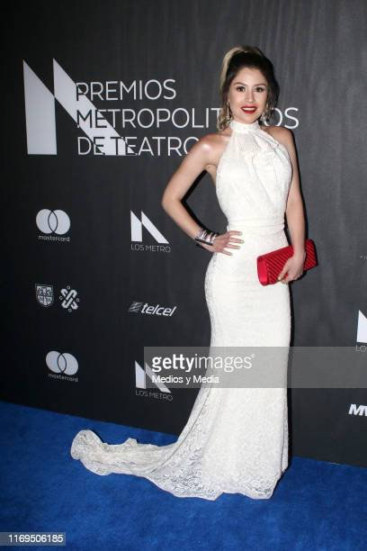 Nicole Vale poses for photos during the blue carpet of the Premios Metropolitanos de Teatro 2019 at Plaza Carso on August 21 2019 in Mexico City...