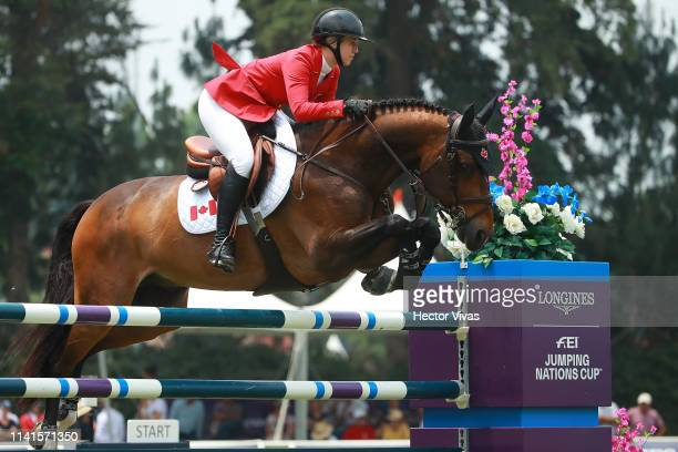 Nicole Walker of Canada riding Falco van Spieveld competes during the Longines FEI Jumping Nations Cup Coapexpan on May 5 2019 in Jalapa Mexico