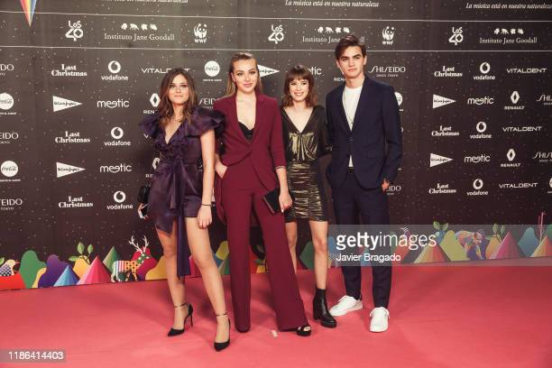 Nicole Wallace Irene Ferreiro Alba Planas and Gabriel Guevara attend 'Los40 music awards 2019' photocall at Wizink Center on November 08 2019 in...