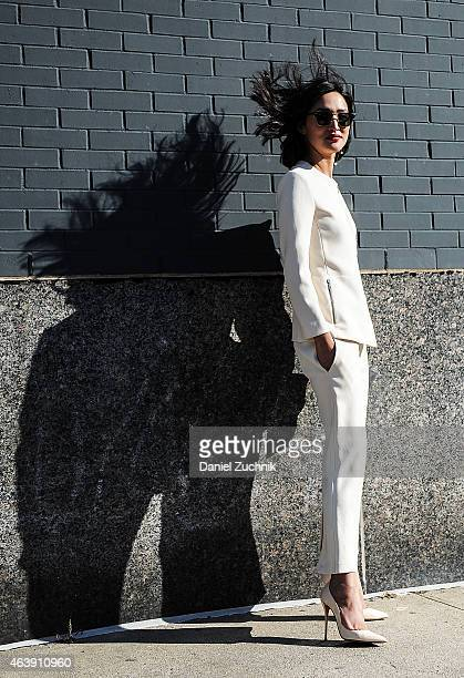 Nicole Warne is seen outside the Calvin Klein show wearing all Calvin Klein on February 19 2015 in New York City