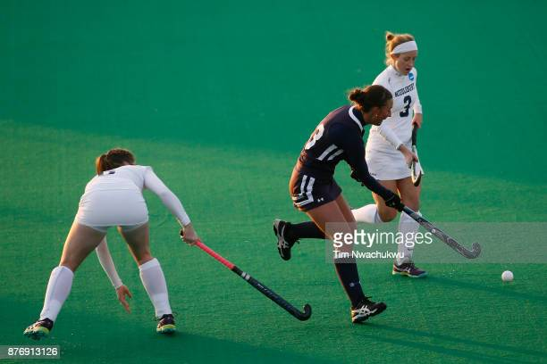 Nicole Wilkerson of Messiah College attempts a pass during the Division III Women's Field Hockey Championship held at Trager Stadium on November 19...