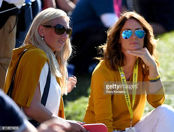 Nicole Willett and Helen Storey look on during afternoon fourball matches of the 2016 Ryder Cup at Hazeltine National Golf Club on October 1 2016 in...